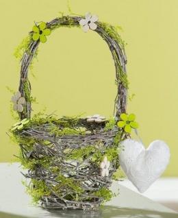 GILDE Deko Korb in Grün aus Naturholz mit Herz und Henkel, 27 cm