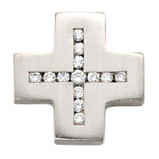 Anhänger Kreuz 950 Platin mattiert 13 Diamanten Brillanten