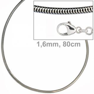 Schlangenkette 925 Silber 1, 6 mm 80 cm Halskette Silberkette Karabiner