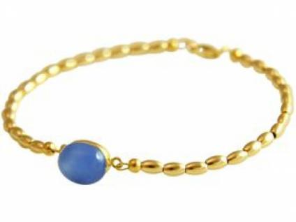 Gemshine Damen Armband Vergoldet Chalcedon Blau 18 cm