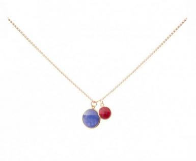 Halskette Anhänger Saphir Rubin Blau Rot 925 Silber Vergoldet 45 cm
