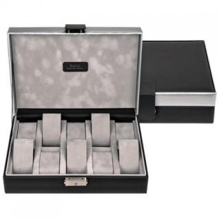 Sacher Uhrenetui Uhrenkasten Uhrenbox CARVON schwarz silbern für 10 Uhren