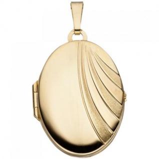 Medaillon oval für 2 Fotos 333 Gelbgold matt Anhänger zum Öffnen