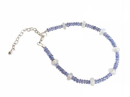 Damen Armband Tansanit Mondstein Facettiert Blau Weiß