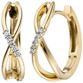 Creolen 585 Gold Gelbgold 10 Diamanten Brillanten 0, 06 ct. Ohrringe