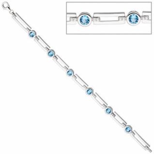Armband 925 Sterling Silber mit Zirkonia hellblau und weiß 19 cm