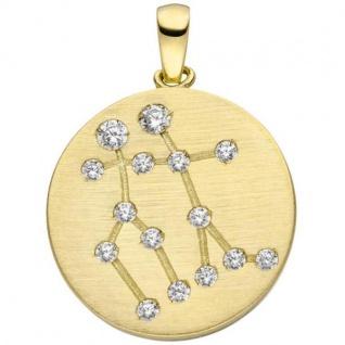 Anhänger Sternzeichen Zwilling 333 Gold Gelbgold matt 15 Zirkonia