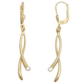 Boutons 375 Gold Gelbgold 2 Zirkonia Ohrringe Ohrhänger