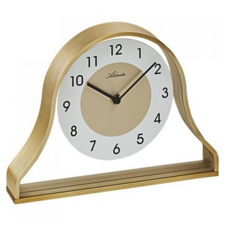 Atlanta 3125 Stiluhr Tischuhr Quarz Metallrahmen golden mit Glas
