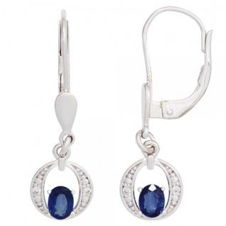 Boutons 585 Gold Weißgold 2 blaue Saphire 4 Diamanten Ohrringe