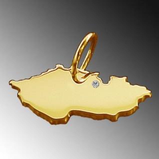 TSCHECHIEN Kettenanhänger mit Brillant am Wunschort aus 585 Gelbgold