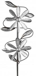 Windrad aus Metall Blume mit Stange antik silber 23/92 cm