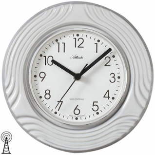 Atlanta 6021 Küchenuhr Wanduhr Funkwanduhr analog Keramik grau weiß