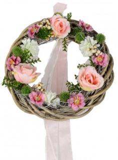 Rattan Frühjahrskranz Rose Rosa 25 cm