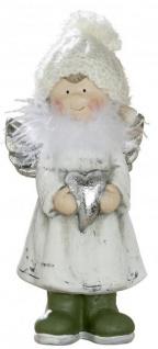 Deko-Figur Engel mit Herz und Plüsch aus Keramik antik silber 20cm groß Keramikengel Weihnachtsengel stehend