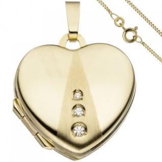 Medaillon Herz zum Öffnen für Fotos 333 Gold 3 Zirkonia Kette 45 cm