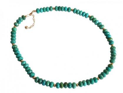 Gemshine Damen Halskette Vergoldet Türkis Facettiert Grün Blau 45 cm