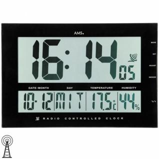 AMS 5895 Wanduhr Tischuhr Funk schwarz digital Datum Thermometer
