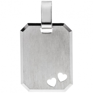 Anhänger Herz Herzen Gravur Gravurplatte eckig 925 Silber matt