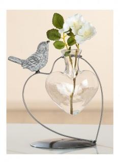 GILDE Herz Vase aus Metall und Glas mit einem Vogel, 17 x 16 cm