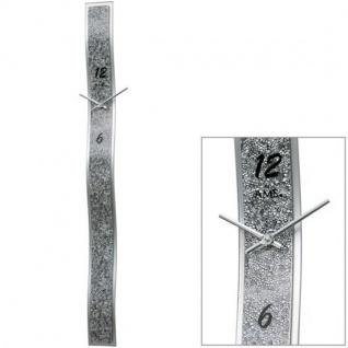 AMS 9416 Wanduhr Quarz analog silbern modern mit Kunstleder und Glas