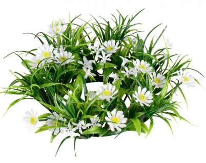 künstlicher Blumenkranz Türkranz grün weiß Gänseblümchen Ø 18 cm