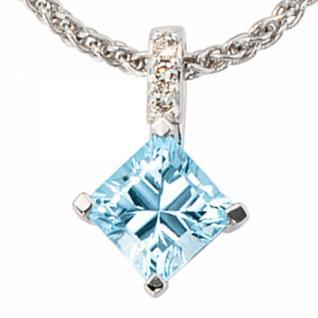 Anhänger 585 Gold Weißgold 1 Blautopas blau hellblau 3 Diamanten
