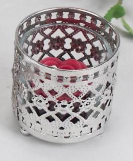 Romantischer Teelichtleuchter in Silber, 7 cm
