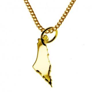 ISRAEL Kettenanhänger aus massiv 585 Gelbgold mit Halskette