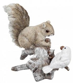 Eichhörnchen Deko Figur mit Vogel auf einem Ast creme natur 20 cm