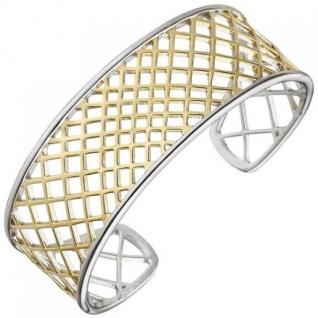 Armspange offener Armreif 925 Silber bicolor vergoldet Armband