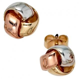Ohrstecker Knoten 585 Gold dreifarbig tricolor Ohrringe Goldohrringe