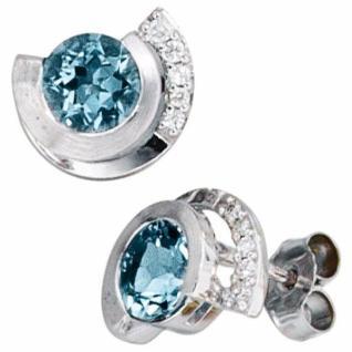 Ohrstecker 585 Weißgold 2 Aquamarine blau 10 Diamanten Brillanten