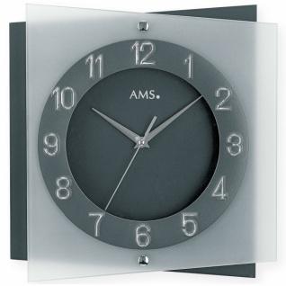 AMS 9323 Wanduhr Quarz analog anthrazit silber leise ohne Ticken Glas