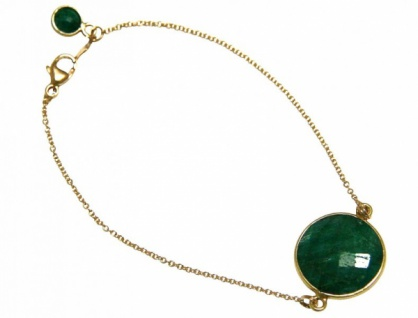 Armband Vergoldet Smaragd Grün facettiert 19 cm