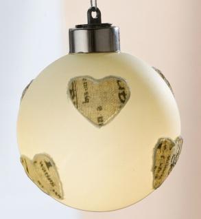 Glas LED Baumkugel Herz, Durchmesser 8 cm mit Textil