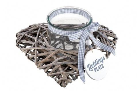 Weiden-Windlicht-Herz Rattanherz mit Glaseinsatz 29 x 15 cm Landhausstil