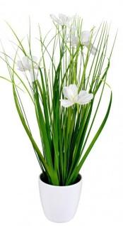 Künstliche blühende Cosmea-Blume im Topf grün weiß 34 cm