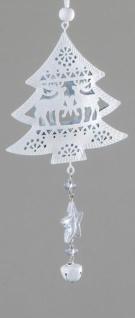 Deko-Hänger aus Metall Tannenbaum, weiß, 16 cm