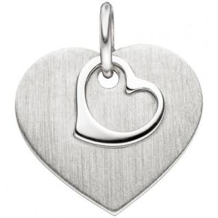 Anhänger Herz 925 Sterling Silber mattiert HerzAnhänger