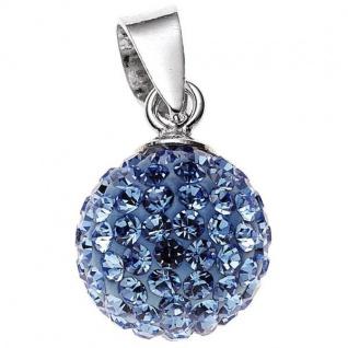 Anhänger Kugel 925 Sterling Silber rhodiniert mit Kristallen blau