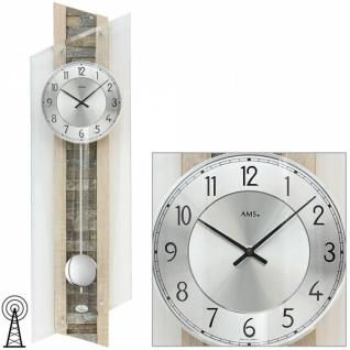 AMS 5224 Wanduhr Funk mit Pendel Holz Sonoma Optik Pendeluhr Glas