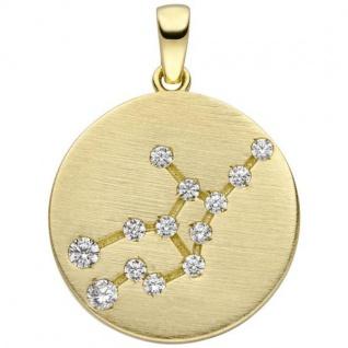 Anhänger Sternzeichen Jungfrau 333 Gold Gelbgold matt 13 Zirkonia