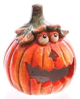 Windlicht Kürbis witzige Halloween Dekoration orange 15 cm