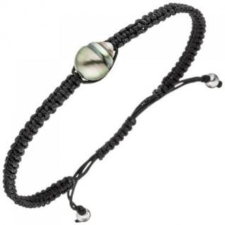 Armband aus Stoff mit Tahiti Perle und 925 Silber 23 cm Zugarmband - Vorschau