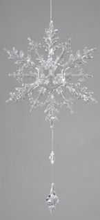 Eiskristall-Hänger mit Tropfen aus Acryl klar, 55 cm