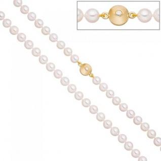 Perlenkette Akoya Perlen 45 cm Schließe 925 Silber gold vergoldet 2 Zirkonia