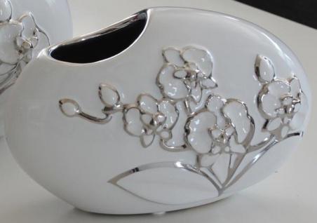 GILDE Deko Vase weiß mit silberner Blumenmusterung, 8 x 20 x 13 cm