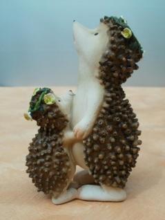 Dekofigur Igel mit Kind aus Polyresin, 11 cm