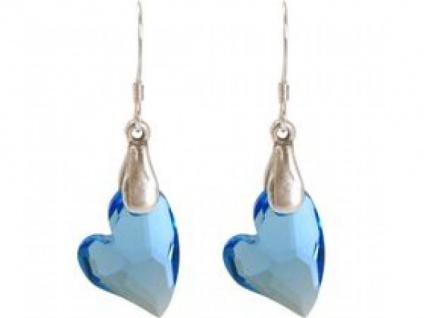 Ohrringe 925 Silber Herz Blau MADE WITH SWAROVSKI ELEMENTS® 3, 5 cm